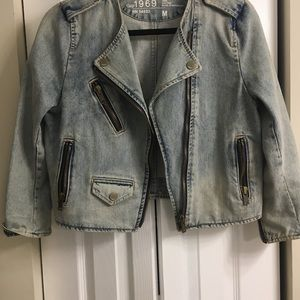GAP 1969 heavy denim moto zipper style jacket med.